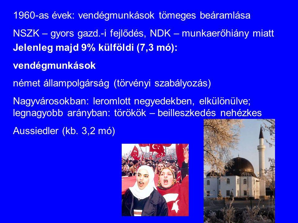 Jelenleg majd 9% külföldi (7,3 mó): vendégmunkások német állampolgárság (törvényi szabályozás) Nagyvárosokban: leromlott negyedekben, elkülönülve; legnagyobb arányban: törökök – beilleszkedés nehézkes Aussiedler (kb.
