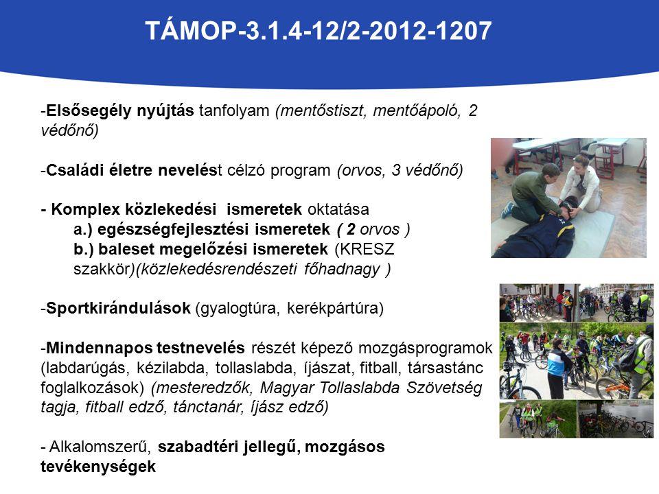 TÁMOP-3.1.4-12/2-2012-1207 -Elsősegély nyújtás tanfolyam (mentőstiszt, mentőápoló, 2 védőnő) -Családi életre nevelést célzó program (orvos, 3 védőnő) - Komplex közlekedési ismeretek oktatása a.) egészségfejlesztési ismeretek ( 2 orvos ) b.) baleset megelőzési ismeretek (KRESZ szakkör)(közlekedésrendészeti főhadnagy ) -Sportkirándulások (gyalogtúra, kerékpártúra) -Mindennapos testnevelés részét képező mozgásprogramok (labdarúgás, kézilabda, tollaslabda, íjászat, fitball, társastánc foglalkozások) (mesteredzők, Magyar Tollaslabda Szövetség tagja, fitball edző, tánctanár, íjász edző) - Alkalomszerű, szabadtéri jellegű, mozgásos tevékenységek