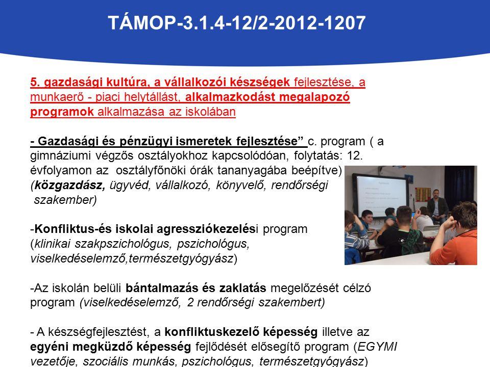 TÁMOP-3.1.4-12/2-2012-1207 5. gazdasági kultúra, a vállalkozói készségek fejlesztése, a munkaerő - piaci helytállást, alkalmazkodást megalapozó progra
