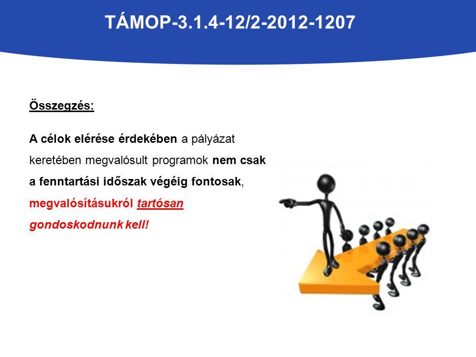 TÁMOP-3.1.4-12/2-2012-1207 Összegzés: A célok elérése érdekében a pályázat keretében megvalósult programok nem csak a fenntartási időszak végéig fontosak, megvalósításukról tartósan gondoskodnunk kell!