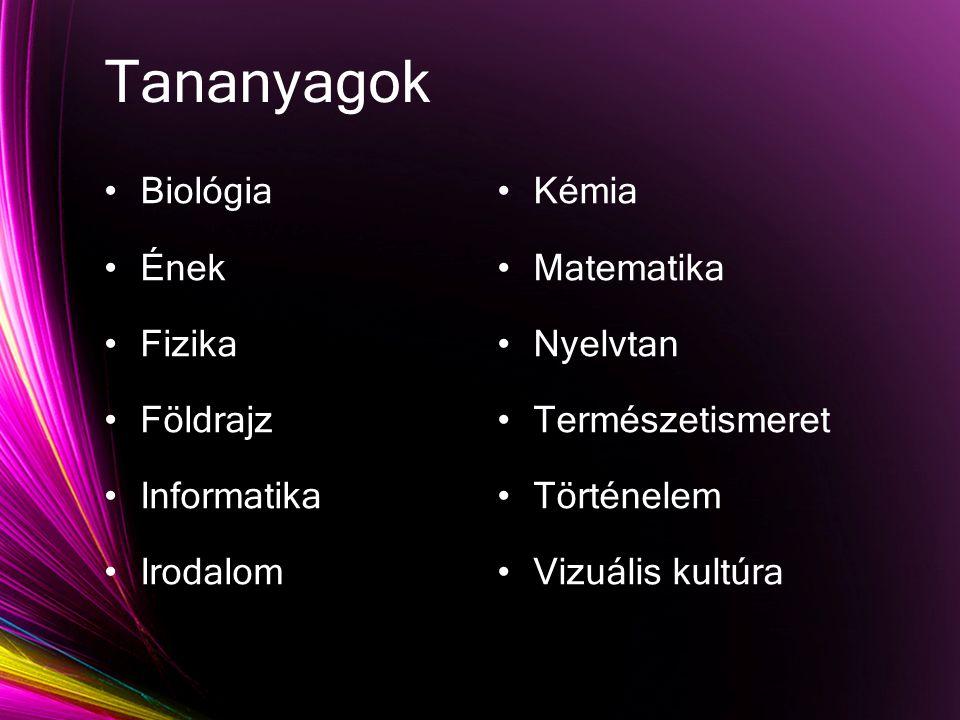 Tananyagok Biológia Ének Fizika Földrajz Informatika Irodalom Kémia Matematika Nyelvtan Természetismeret Történelem Vizuális kultúra