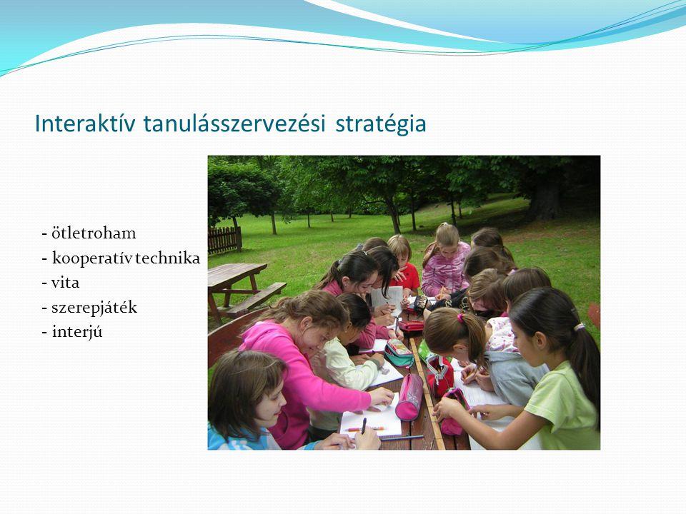 Interaktív tanulásszervezési stratégia - ötletroham - kooperatív technika - vita - szerepjáték - interjú
