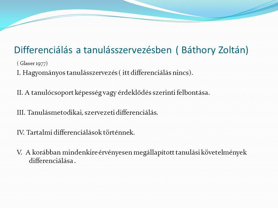 Differenciálás a tanulásszervezésben ( Báthory Zoltán) ( Glaser 1977) I. Hagyományos tanulásszervezés ( itt differenciálás nincs). II. A tanulócsoport