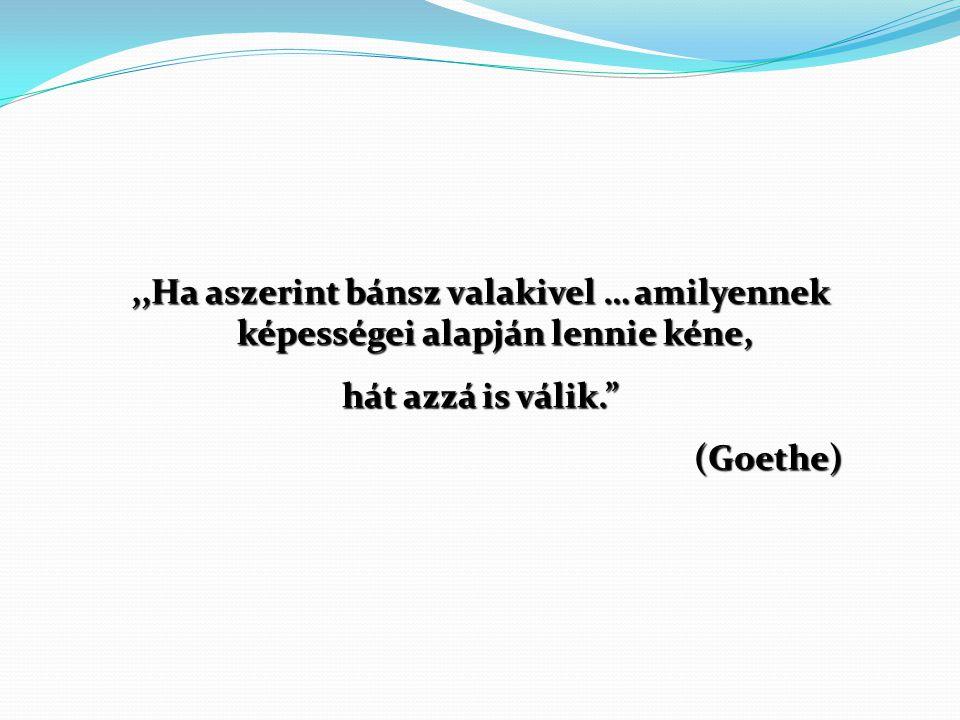 """,,Ha aszerint bánsz valakivel … amilyennek képességei alapján lennie kéne, hát azzá is válik."""" (Goethe)"""