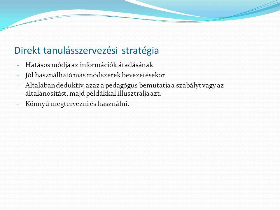 Direkt tanulásszervezési stratégia - Hatásos módja az információk átadásának - Jól használható más módszerek bevezetésekor - Általában deduktív, azaz