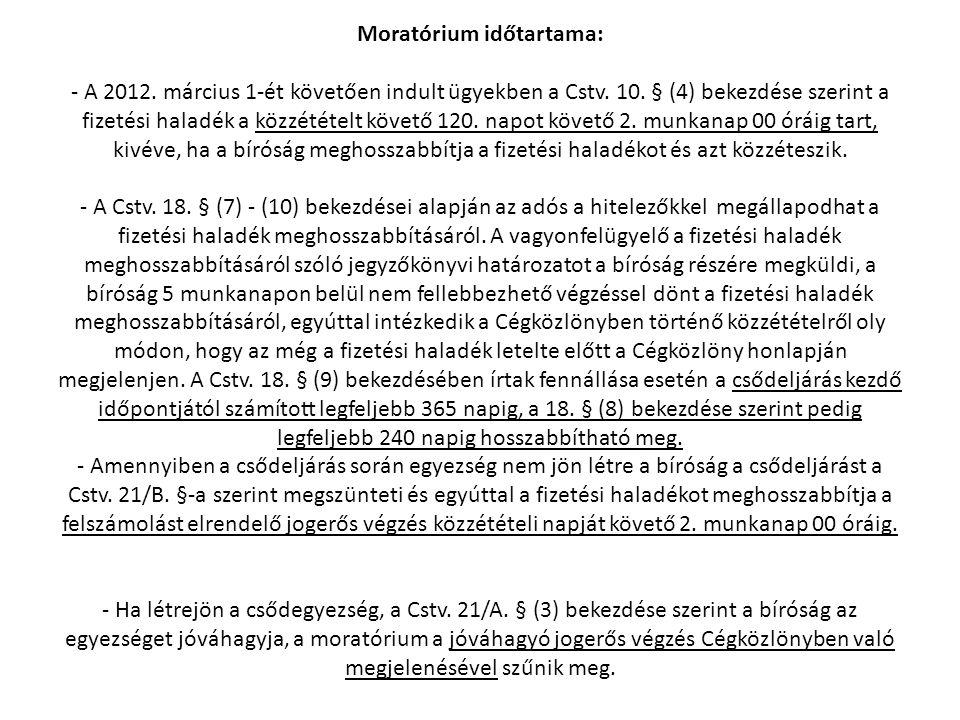 Moratórium időtartama: - A 2012. március 1-ét követően indult ügyekben a Cstv. 10. § (4) bekezdése szerint a fizetési haladék a közzétételt követő 120