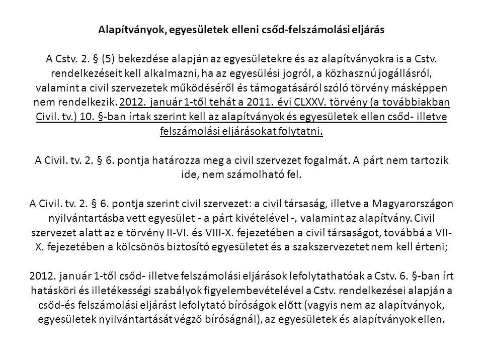 Alapítványok, egyesületek elleni csőd-felszámolási eljárás A Cstv. 2. § (5) bekezdése alapján az egyesületekre és az alapítványokra is a Cstv. rendelk