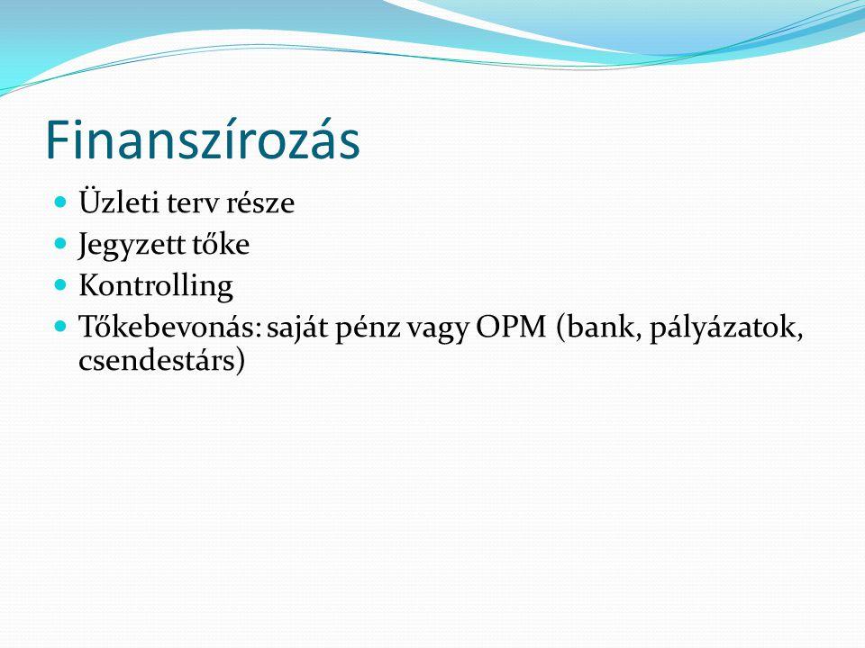 Finanszírozás Üzleti terv része Jegyzett tőke Kontrolling Tőkebevonás: saját pénz vagy OPM (bank, pályázatok, csendestárs)