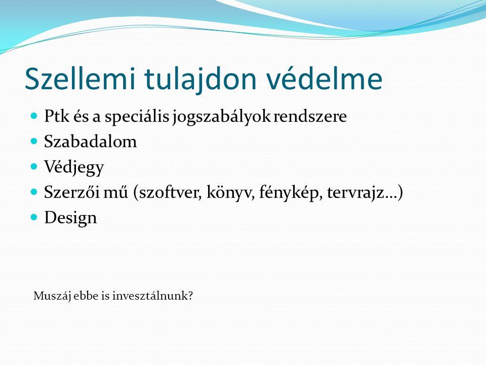 Szellemi tulajdon védelme Ptk és a speciális jogszabályok rendszere Szabadalom Védjegy Szerzői mű (szoftver, könyv, fénykép, tervrajz…) Design Muszáj