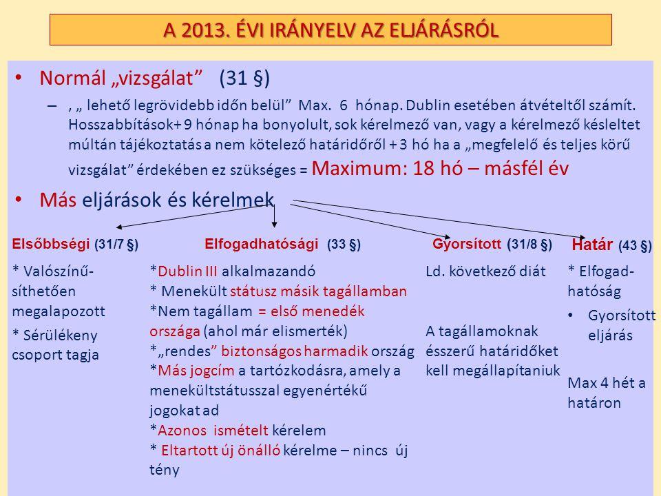 """A 2013. ÉVI IRÁNYELV AZ ELJÁRÁSRÓL Normál """"vizsgálat"""" (31 §) –, """" lehető legrövidebb időn belül"""" Max. 6 hónap. Dublin esetében átvételtől számít. Hoss"""