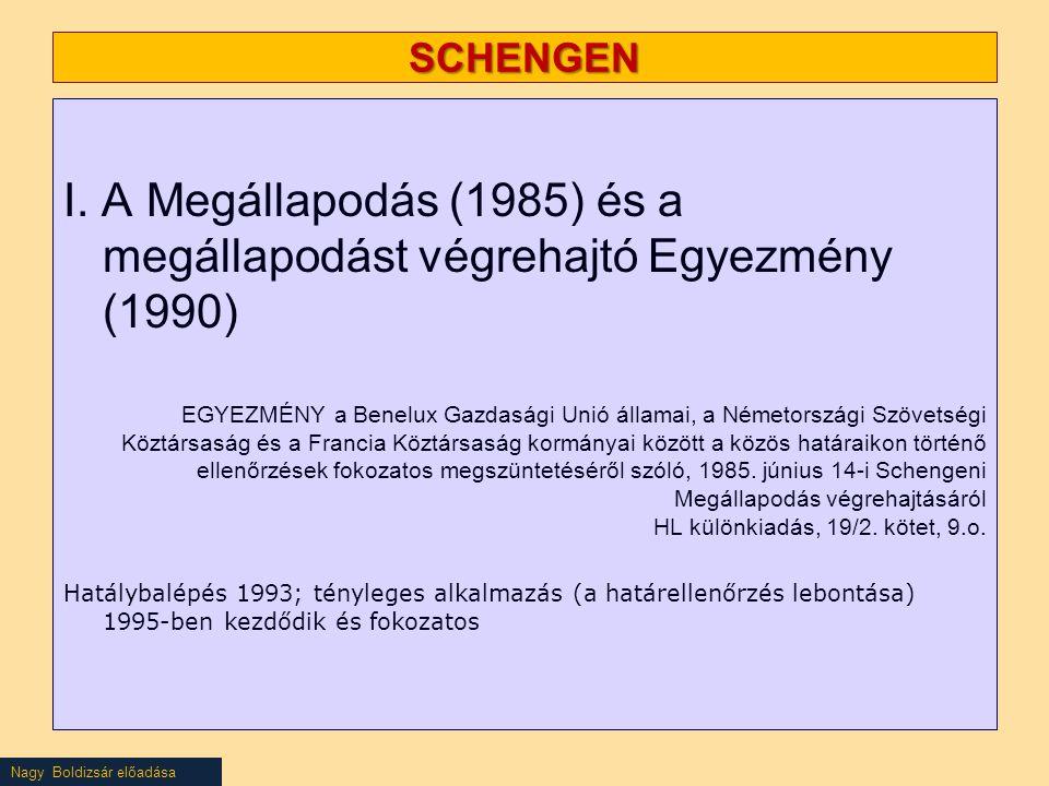 SCHENGEN I. A Megállapodás (1985) és a megállapodást végrehajtó Egyezmény (1990) EGYEZMÉNY a Benelux Gazdasági Unió államai, a Németországi Szövetségi