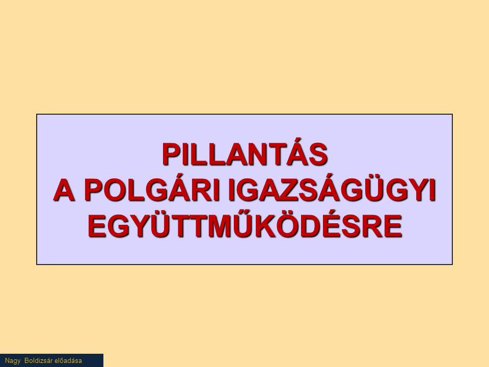 Nagy Boldizsár előadása PILLANTÁS A POLGÁRI IGAZSÁGÜGYI EGYÜTTMŰKÖDÉSRE