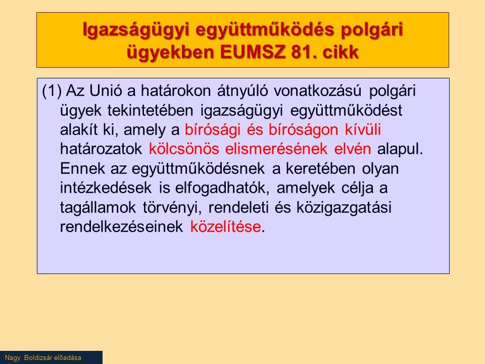 Nagy Boldizsár előadása Igazságügyi együttműködés polgári ügyekben EUMSZ 81. cikk (1) Az Unió a határokon átnyúló vonatkozású polgári ügyek tekintetéb