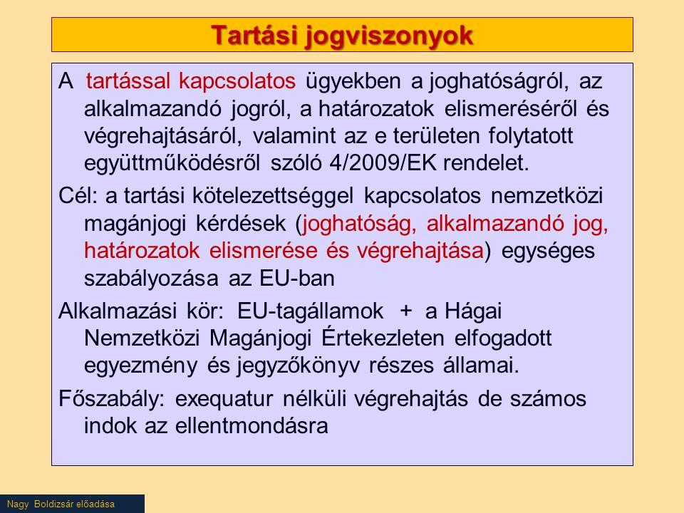 Nagy Boldizsár előadása Tartási jogviszonyok A tartással kapcsolatos ügyekben a joghatóságról, az alkalmazandó jogról, a határozatok elismeréséről és végrehajtásáról, valamint az e területen folytatott együttműködésről szóló 4/2009/EK rendelet.