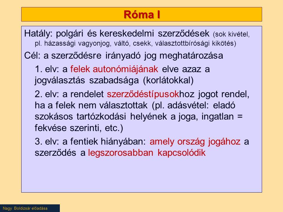 Nagy Boldizsár előadása Róma I Hatály: polgári és kereskedelmi szerződések (sok kivétel, pl. házassági vagyonjog, váltó, csekk, választottbírósági kik