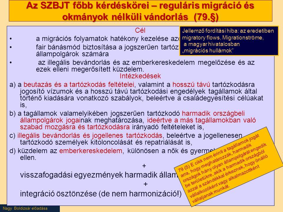 Nagy Boldizsár előadása Az SZBJT főbb kérdéskörei – reguláris migráció és okmányok nélküli vándorlás (79.§) Cél a migrációs folyamatok hatékony kezelé