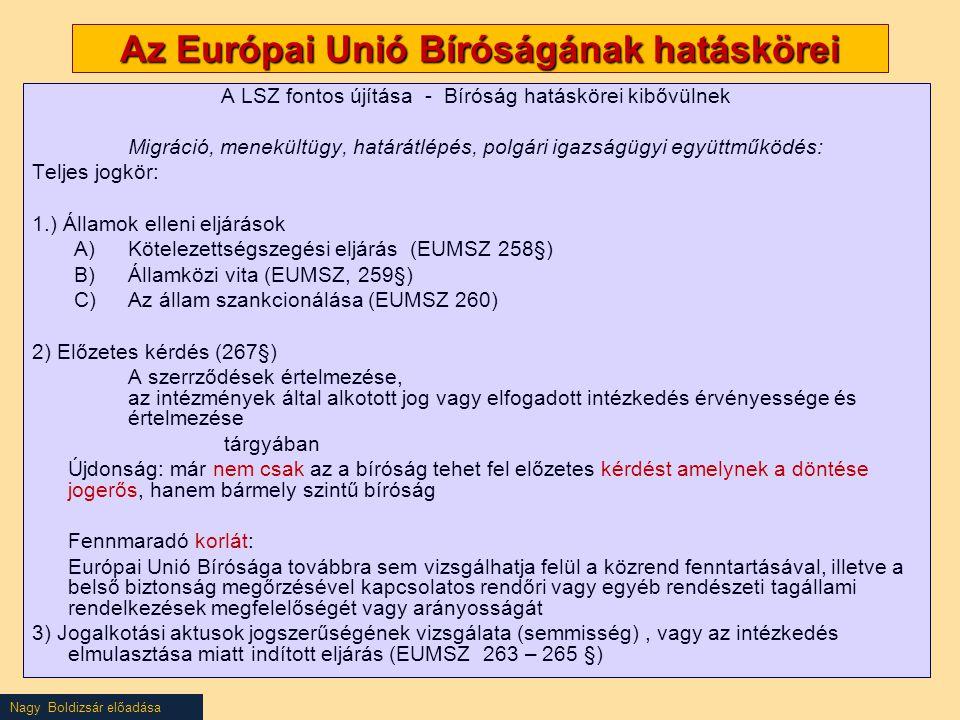 Nagy Boldizsár előadása Az Európai Unió Bíróságának hatáskörei A LSZ fontos újítása - Bíróság hatáskörei kibővülnek Migráció, menekültügy, határátlépé