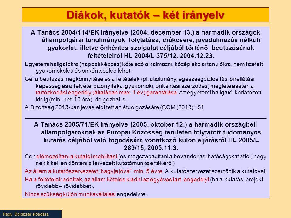 Nagy Boldizsár előadása Diákok, kutatók – két irányelv A Tanács 2004/114/EK Irányelve (2004. december 13.) a harmadik országok állampolgárai tanulmány