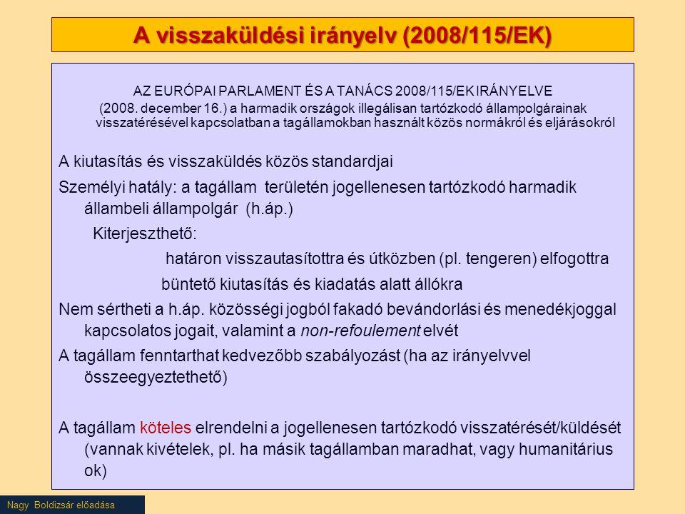 Nagy Boldizsár előadása A visszaküldési irányelv (2008/115/EK) AZ EURÓPAI PARLAMENT ÉS A TANÁCS 2008/115/EK IRÁNYELVE (2008. december 16.) a harmadik