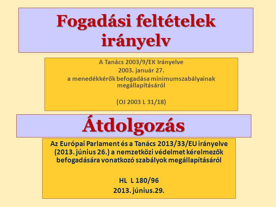 Fogadási feltételek irányelv A Tanács 2003/9/EK Irányelve 2003. január 27. a menedékkérők befogadása minimumszabályainak megállapításáról (OJ 2003 L 3