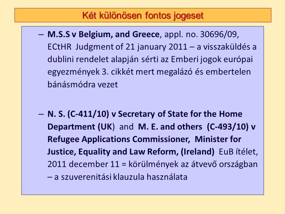Két különösen fontos jogeset – M.S.S v Belgium, and Greece, appl. no. 30696/09, ECtHR Judgment of 21 january 2011 – a visszaküldés a dublini rendelet