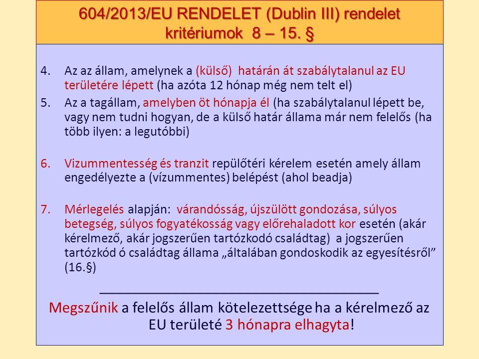 604/2013/EU RENDELET (Dublin III) rendelet kritériumok 8 – 15. § 4.Az az állam, amelynek a (külső) határán át szabálytalanul az EU területére lépett (
