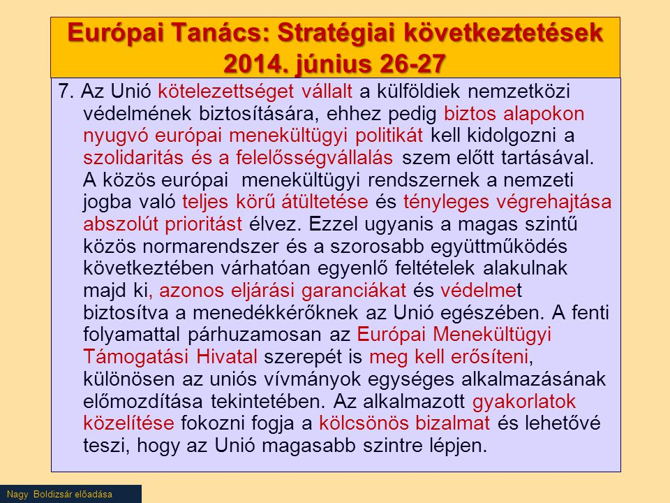 Nagy Boldizsár előadása Európai Tanács: Stratégiai következtetések 2014.