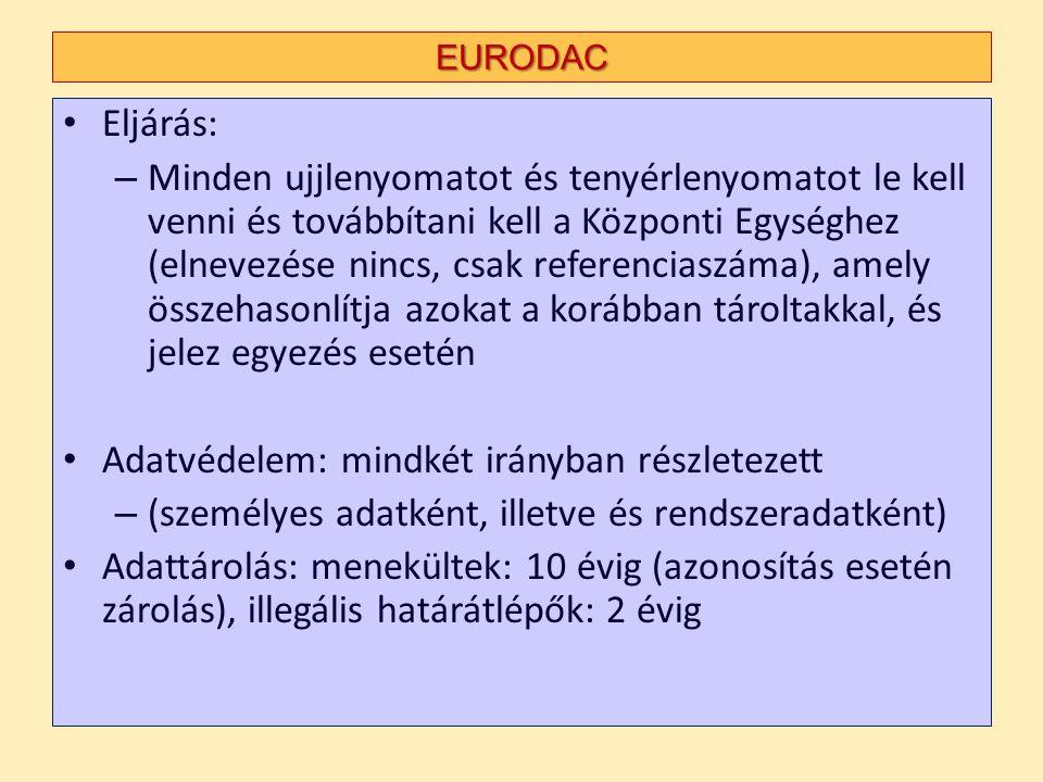 EURODAC Eljárás: – Minden ujjlenyomatot és tenyérlenyomatot le kell venni és továbbítani kell a Központi Egységhez (elnevezése nincs, csak referenciaszáma), amely összehasonlítja azokat a korábban tároltakkal, és jelez egyezés esetén Adatvédelem: mindkét irányban részletezett – (személyes adatként, illetve és rendszeradatként) Adattárolás: menekültek: 10 évig (azonosítás esetén zárolás), illegális határátlépők: 2 évig