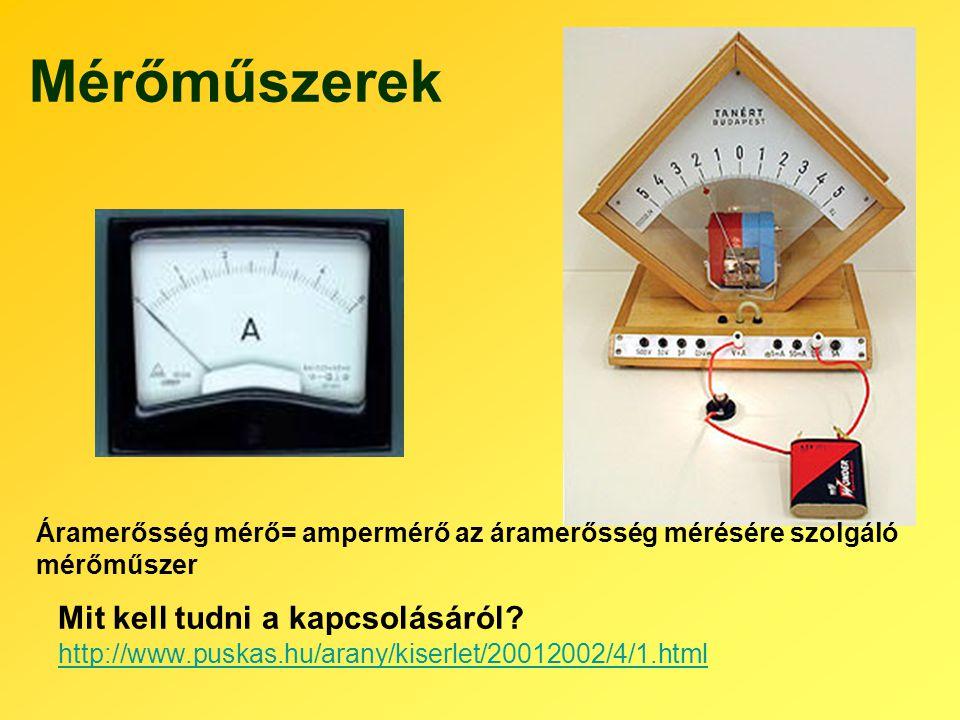 Mérőműszerek Mit kell tudni a kapcsolásáról? http://www.puskas.hu/arany/kiserlet/20012002/4/1.html Áramerősség mérő= ampermérő az áramerősség mérésére
