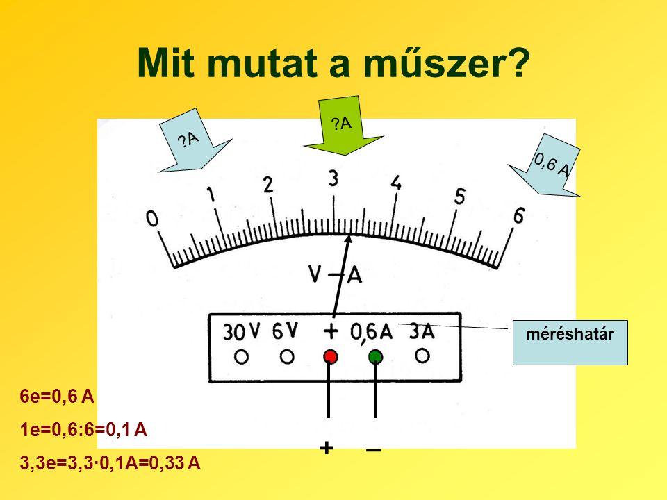 Mit mutat a műszer? ?A 0,6 A méréshatár + _ ?A 6e=0,6 A 1e=0,6:6=0,1 A 3,3e=3,3·0,1A=0,33 A