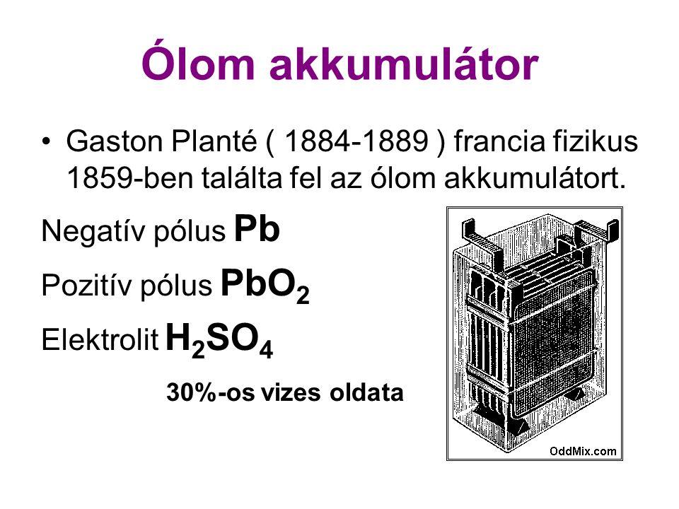 Ólom akkumulátor Gaston Planté ( 1884-1889 ) francia fizikus 1859-ben találta fel az ólom akkumulátort. Negatív pólus Pb Pozitív pólus PbO 2 Elektroli