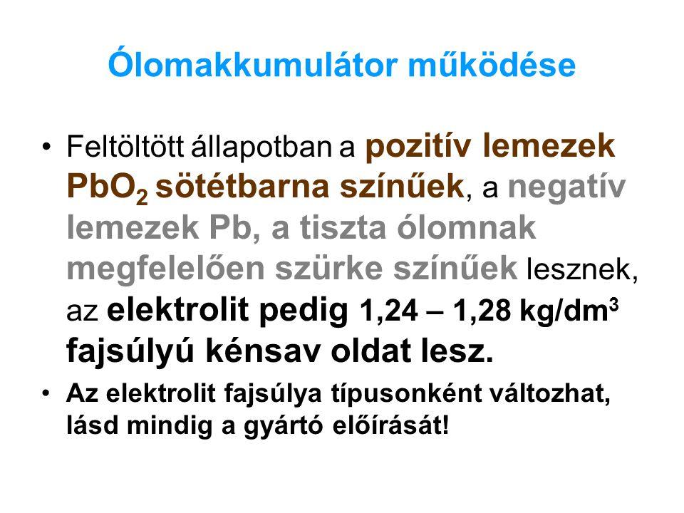 Ólomakkumulátor működése Kisütött állapotban, mindkét elektródán PbSO 4 ( ólomszulfát ) keletkezik, valamint az elektrolit töménysége lecsökken.