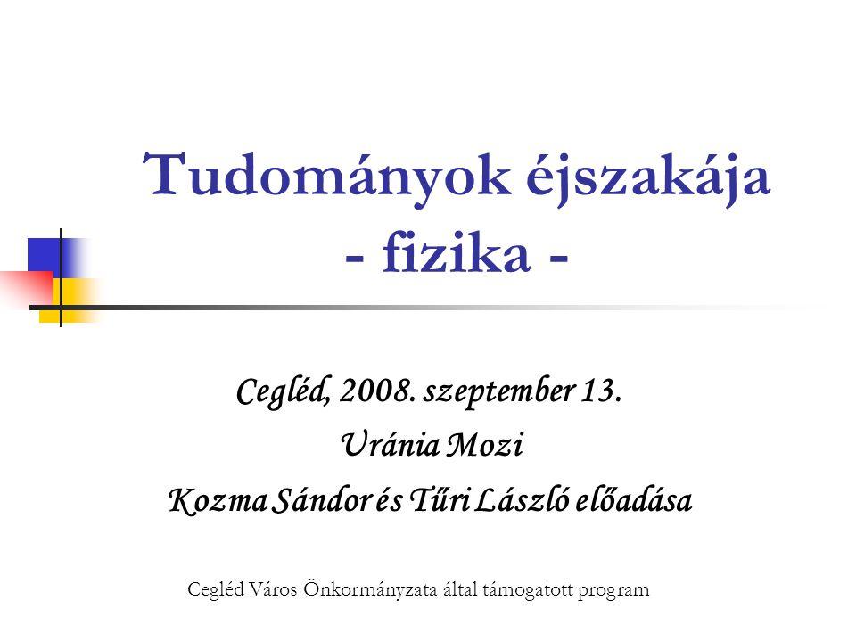2008.09. 13.Uránia Mozi32 Tudományok éjszakája - fizika Mágneses alapjelenség: Kísérlet.