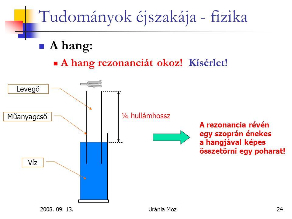 2008.09. 13.Uránia Mozi24 Tudományok éjszakája - fizika A hang: A hang rezonanciát okoz.