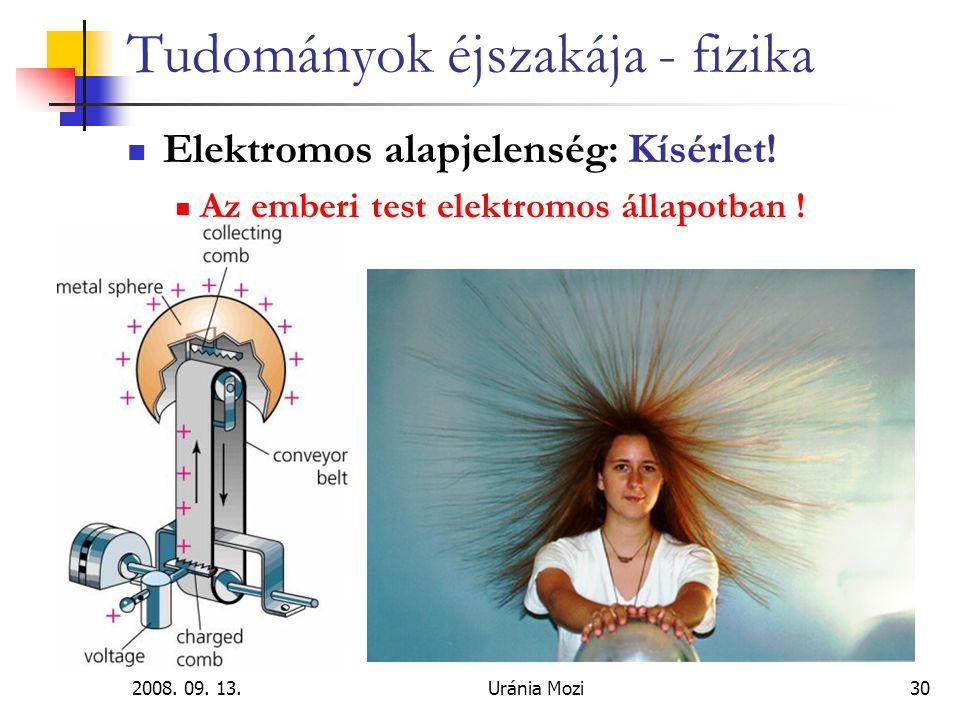 2008.09. 13.Uránia Mozi30 Tudományok éjszakája - fizika Elektromos alapjelenség: Kísérlet.
