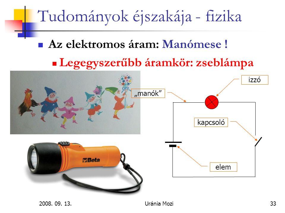 2008.09. 13.Uránia Mozi33 Tudományok éjszakája - fizika Az elektromos áram: Manómese .