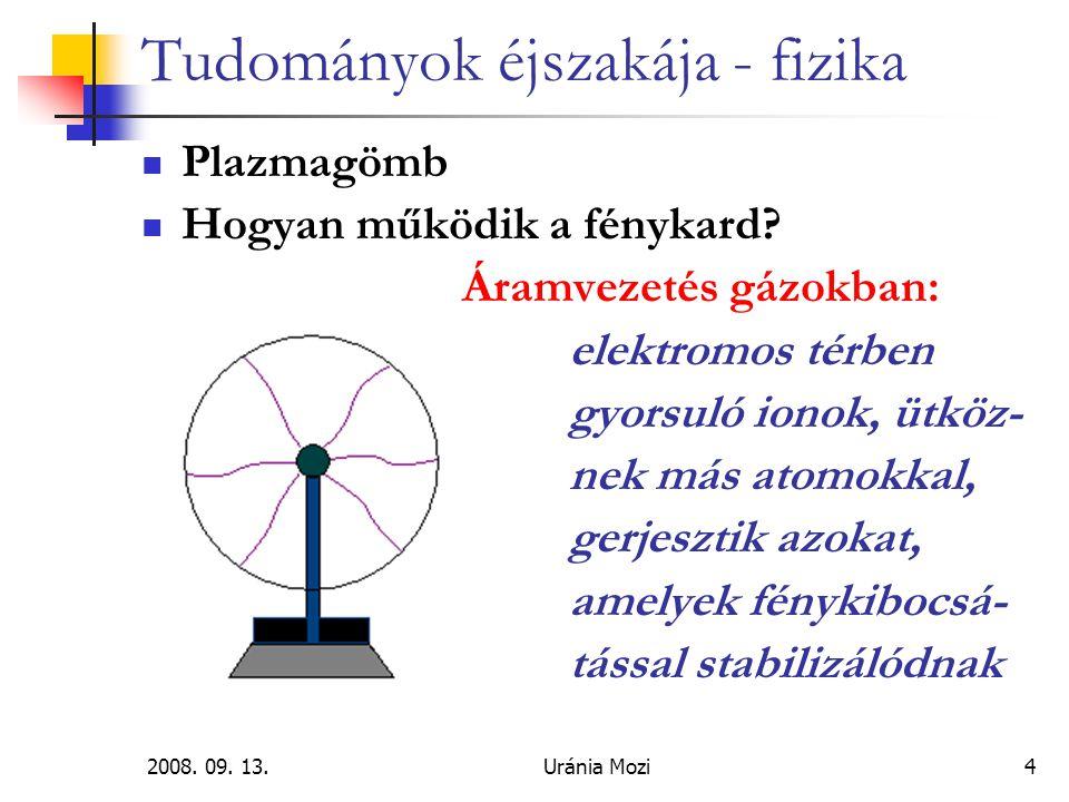 2008.09. 13.Uránia Mozi4 Tudományok éjszakája - fizika Plazmagömb Hogyan működik a fénykard.