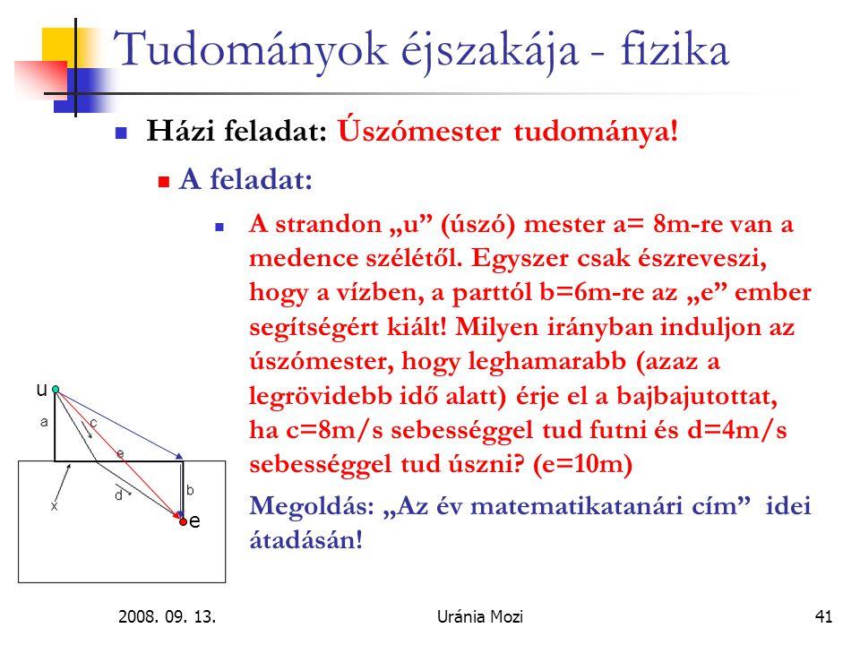 2008.09. 13.Uránia Mozi41 Tudományok éjszakája - fizika Házi feladat: Úszómester tudománya.