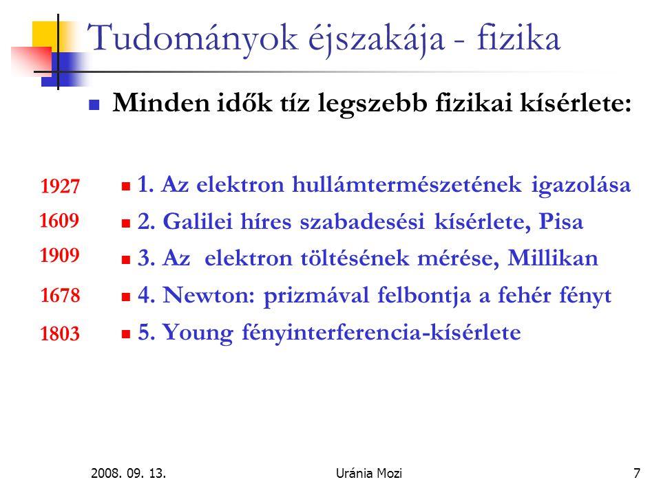 2008.09. 13.Uránia Mozi28 Tudományok éjszakája - fizika Levezetésképpen: cérnaorsó-fizika .