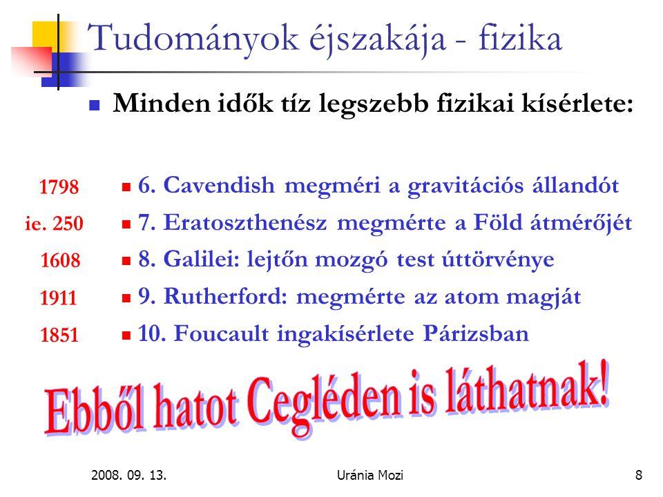 2008. 09. 13.Uránia Mozi39 Tudományok éjszakája - fizika A pillanat szépsége… Kísérlet!