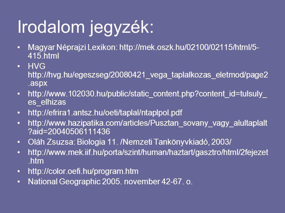 Irodalom jegyzék: Magyar Néprajzi Lexikon: http://mek.oszk.hu/02100/02115/html/5- 415.html HVG http://hvg.hu/egeszseg/20080421_vega_taplalkozas_eletmod/page2.aspx http://www.102030.hu/public/static_content.php?content_id=tulsuly_ es_elhizas http://efrira1.antsz.hu/oeti/taplal/ntaplpol.pdf http://www.hazipatika.com/articles/Pusztan_sovany_vagy_alultaplalt ?aid=20040506111436 Oláh Zsuzsa: Biologia 11.