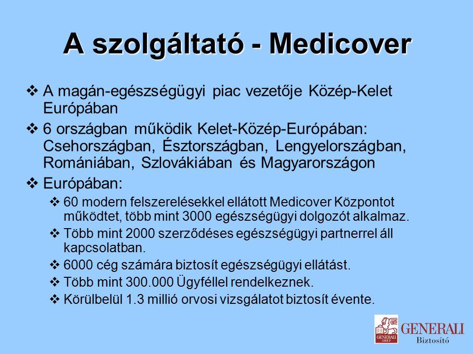 A szolgáltató - Medicover  A magán-egészségügyi piac vezetője Közép-Kelet Európában  6 országban működik Kelet-Közép-Európában: Csehországban, Észtországban, Lengyelországban, Romániában, Szlovákiában és Magyarországon  Európában:  60 modern felszerelésekkel ellátott Medicover Központot működtet, több mint 3000 egészségügyi dolgozót alkalmaz.