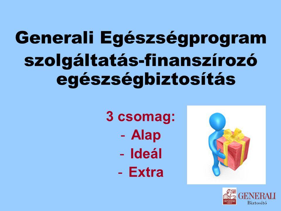 Generali Egészségprogram szolgáltatás-finanszírozó egészségbiztosítás 3 csomag: -Alap -Ideál -Extra