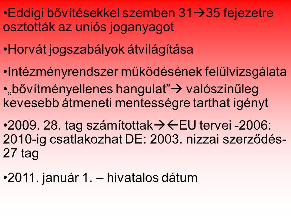 """Eddigi bővítésekkel szemben 31  35 fejezetre osztották az uniós joganyagot Horvát jogszabályok átvilágítása Intézményrendszer működésének felülvizsgálata """"bővítményellenes hangulat  valószínűleg kevesebb átmeneti mentességre tarthat igényt 2009."""