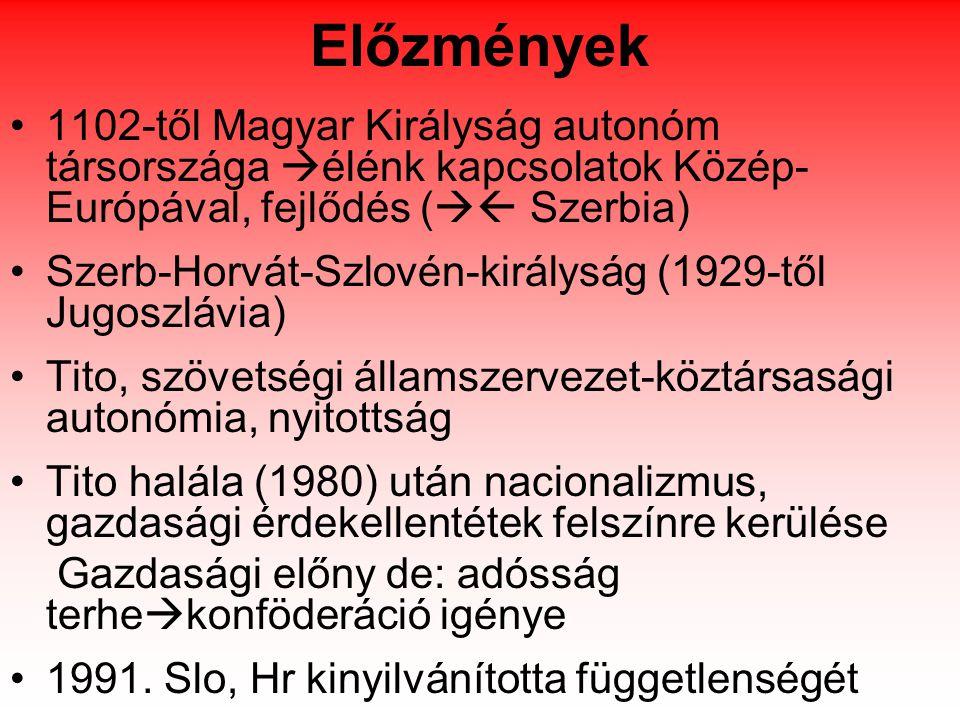 Előzmények 1102-től Magyar Királyság autonóm társországa  élénk kapcsolatok Közép- Európával, fejlődés (  Szerbia) Szerb-Horvát-Szlovén-királyság (1929-től Jugoszlávia) Tito, szövetségi államszervezet-köztársasági autonómia, nyitottság Tito halála (1980) után nacionalizmus, gazdasági érdekellentétek felszínre kerülése Gazdasági előny de: adósság terhe  konföderáció igénye 1991.