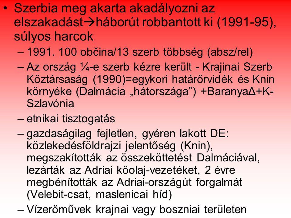 Szerbia meg akarta akadályozni az elszakadást  háborút robbantott ki (1991-95), súlyos harcok –1991.