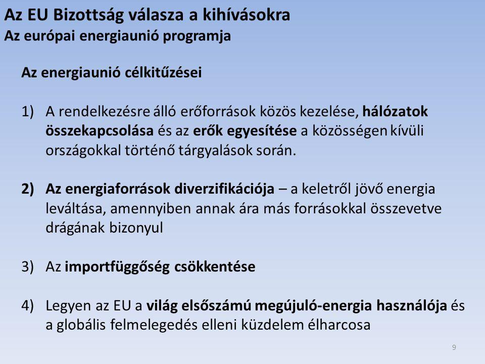 9 Az energiaunió célkitűzései 1)A rendelkezésre álló erőforrások közös kezelése, hálózatok összekapcsolása és az erők egyesítése a közösségen kívüli országokkal történő tárgyalások során.
