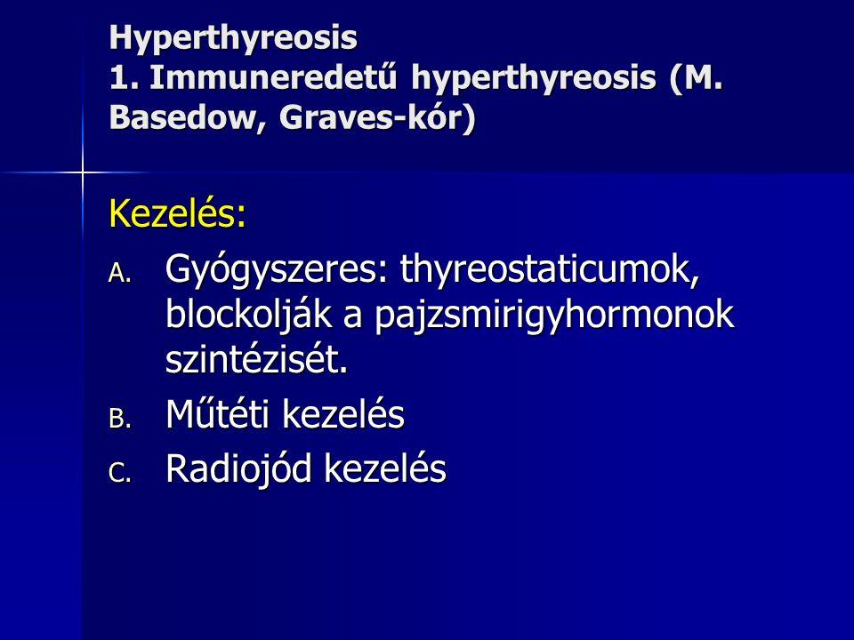 Hyperthyreosis 1. Immuneredetű hyperthyreosis (M. Basedow, Graves-kór) Kezelés: A. Gyógyszeres: thyreostaticumok, blockolják a pajzsmirigyhormonok szi
