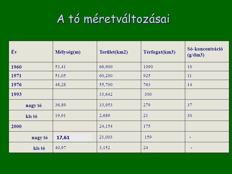 ÉvMélység(m)Terület(km2)Térfogat(km3) Só-koncentráció (g/dm3) 1960 53,4166,9001090 10 1971 51,05 60,200 925 11 1976 48,2855,700 763 14 1993 33,642 300