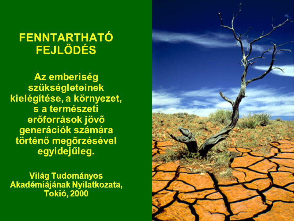 FENNTARTHATÓ FEJLŐDÉS Az emberiség szükségleteinek kielégítése, a környezet, s a természeti erőforrások jövő generációk számára történő megőrzésével e